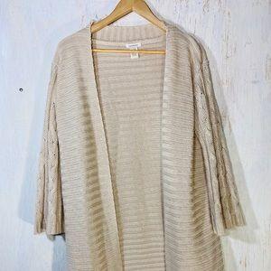 Sundance catalog beige long knit duster cardigan